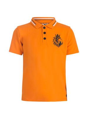 polo Rens met printopdruk oranje/zwart/wit
