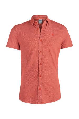 gemêleerd slim fit overhemd Obian rust