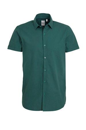 gestreept slim fit overhemd groen