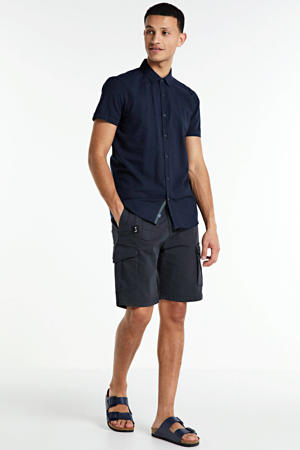 gestreept regular fit overhemd donkerblauw
