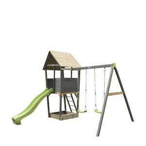 Aksent houten speeltoren met 2-zits schommel grijs