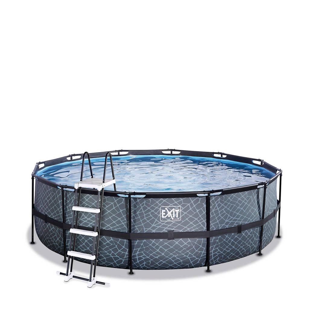 EXIT Stone zwembad ø450x122cm met filterpomp grijs