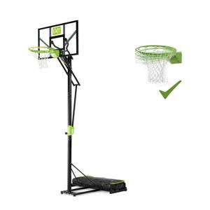 Polestar verplaatsbaar basketbalbord met dunkring groen/zwart