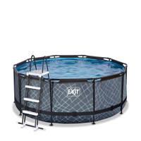 EXIT Stone zwembad ø360x122cm met filterpomp grijs