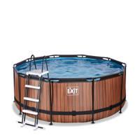 EXIT Wood zwembad ø360x122cm met filterpomp bruin