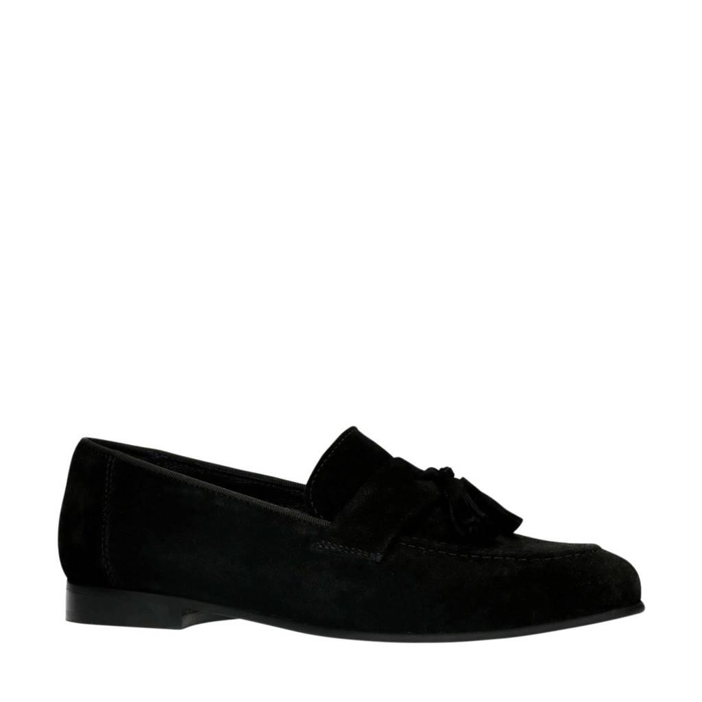 Sacha   suède loafers zwart, Zwart