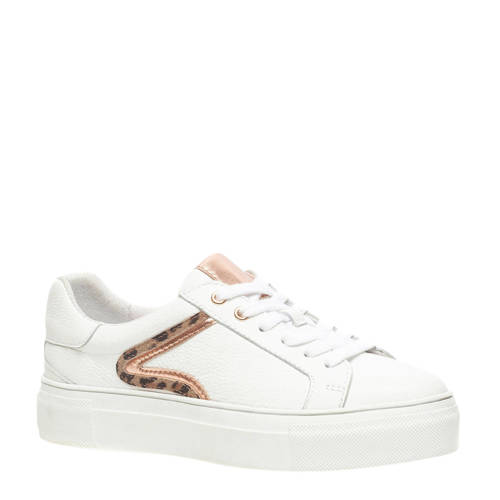 Scapino TwoDay leren plateau sneakers wit/ros??gou