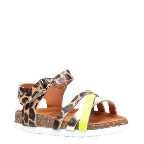 Scapino Blue Box sandalen panterprint/geel
