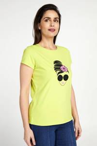 PROMISS T-shirt met printopdruk limegroen, Limegroen
