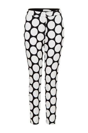 slim fit broek met stippen wit/zwart