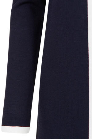 vest met contrastbies blauw