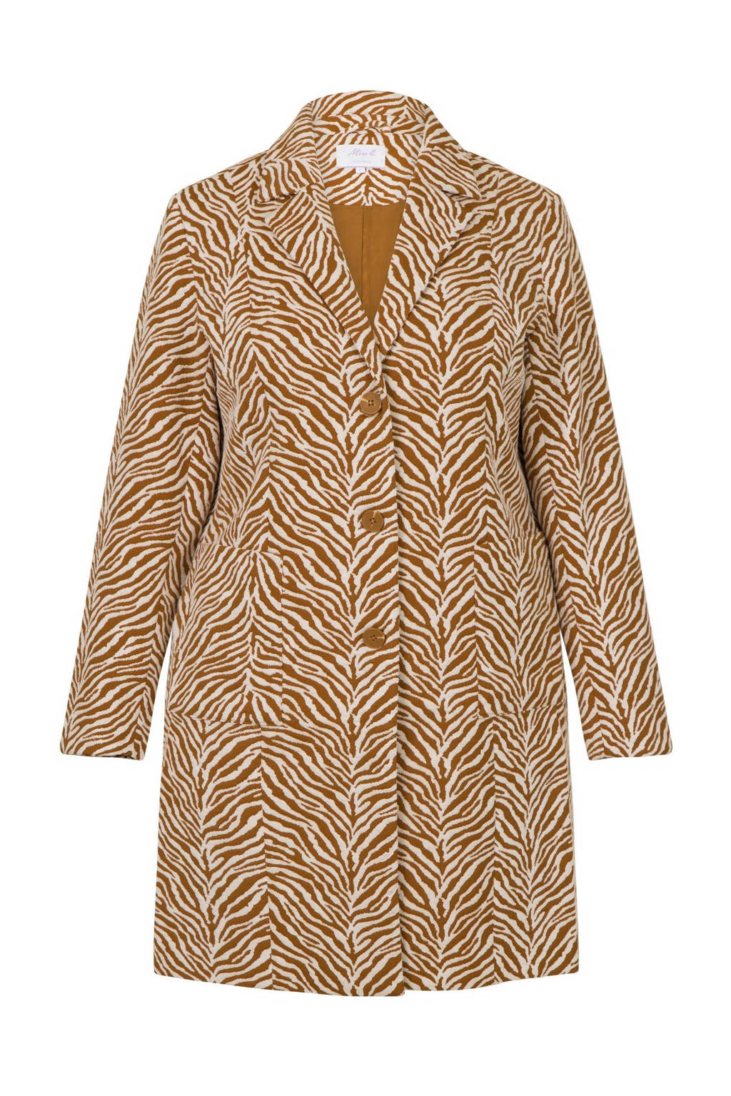 Miss Etam Plus coat met zebraprint bruin, Bruin