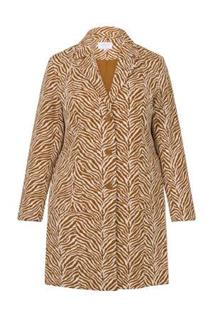 coat met zebraprint bruin