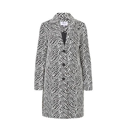 Miss Etam Regulier coat met zebraprint zwart