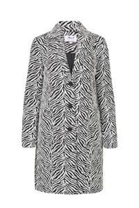 Miss Etam Regulier coat met zebraprint zwart, Zwart