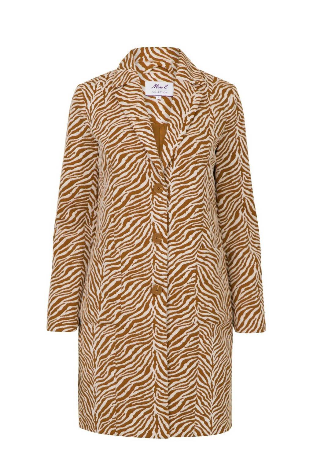 Miss Etam Regulier coat met zebraprint bruin, Bruin