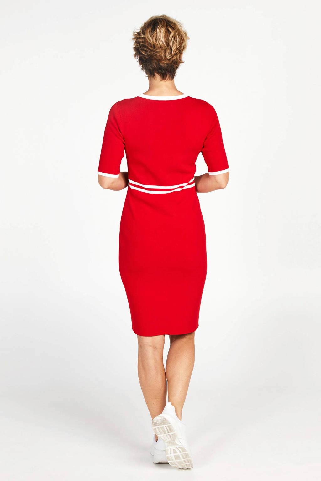 PROMISS jurk rood/wit, Rood/wit