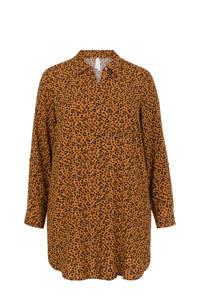 Miss Etam Plus blouse met all over print bruin/zwart, Bruin/zwart