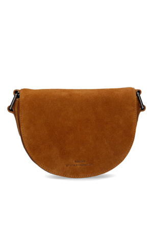 suede saddle bag cognac