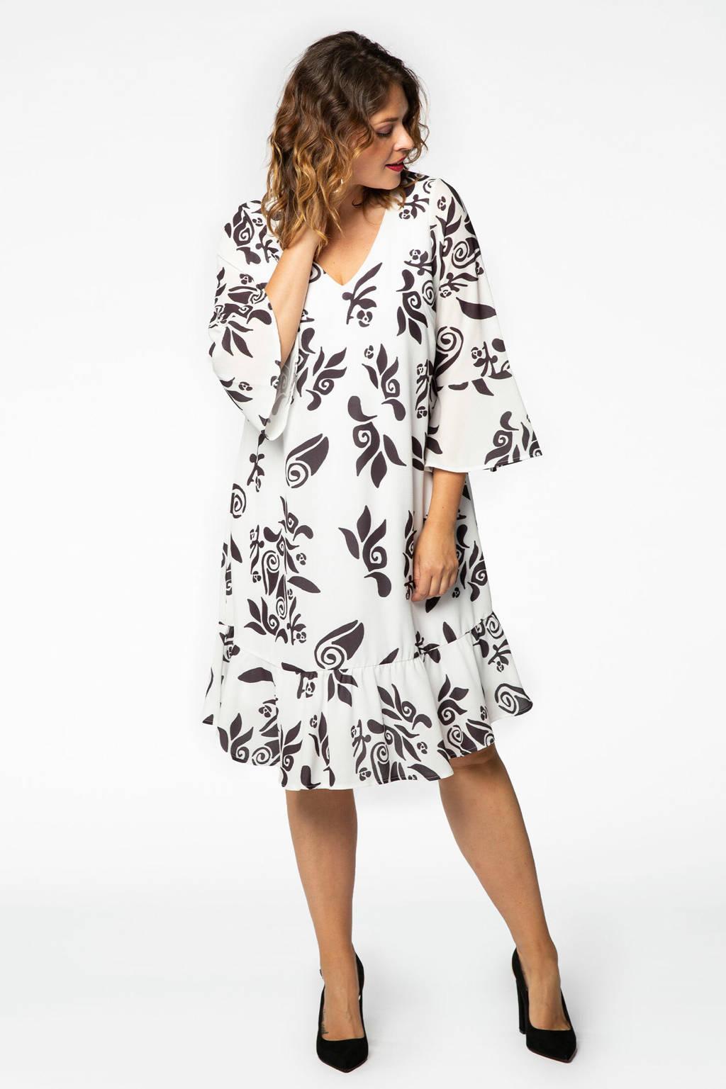 Yoek jurk GAUDI met printopdruk en volant wit/zwart, Wit/zwart