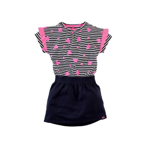 Z8 gestreepte jersey jurk Danique donkerblauw/wit/