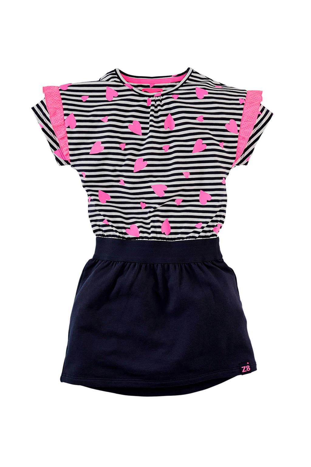 Z8 gestreepte jersey jurk Danique donkerblauw/wit/neon roze, Donkerblauw/wit/neon roze