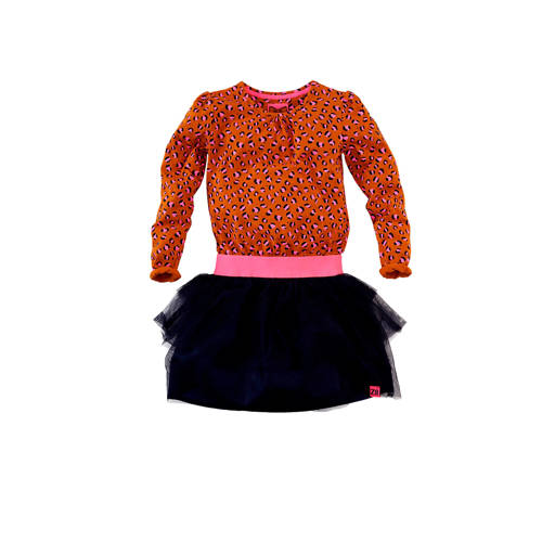 Z8 jersey jurk Mia met panterprint en ruches donke