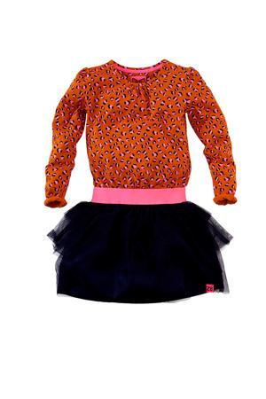 jersey jurk Mia met panterprint en ruches donker oranje/lichtroze/donkerblauw