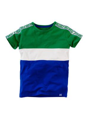 T-shirt Juup met contrastbies groen/wit/blauw