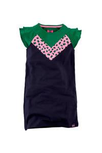 Z8 jersey jurk Janice met ruches donkerblauw/groen/lichtroze, Donkerblauw/groen/lichtroze