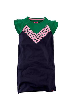 jersey jurk Janice met ruches donkerblauw/groen/lichtroze
