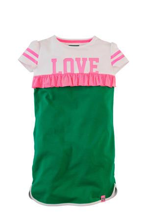 jersey jurk Tiffany met tekstopdruk en ruches groen/wit/roze