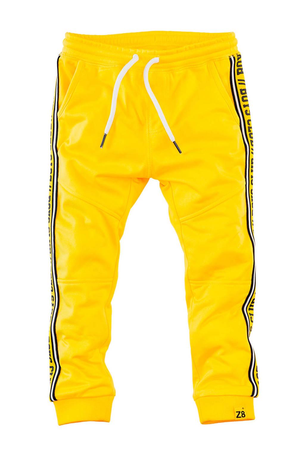 Z8 joggingbroek Wesley met zijstreep geel/zwart/wit, Geel/zwart/wit