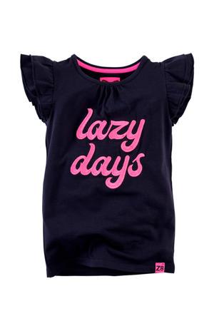 T-shirt Ulrike met tekstopdruk en ruches donkeroranje/zwart/roze