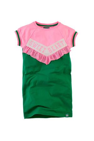 T-shirtjurk Davinia met mesh groen/roze/wit