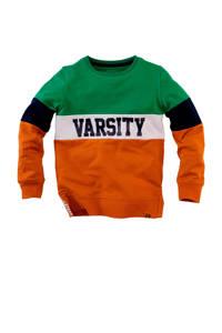 Z8 sweater Brett met tekst groen/donkerblauw/oranje, Groen/donkerblauw/oranje