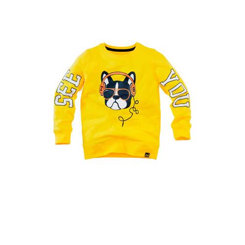 Z8 sweater Keano met printopdruk geel/zwart/wit