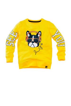sweater Keano met printopdruk geel/zwart/wit