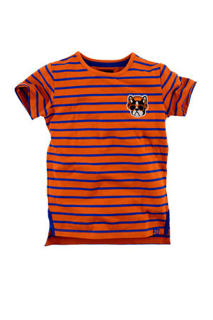 gestreept T-shirt Bryce oranje/blauw