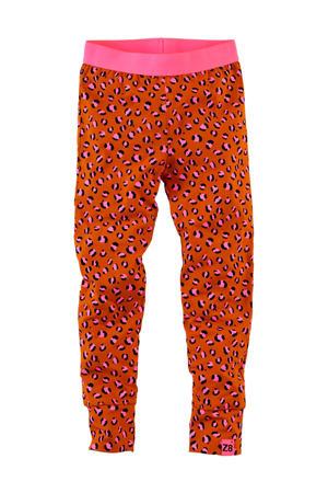 legging Barbara met panterprint donker oranje/roze/zwart