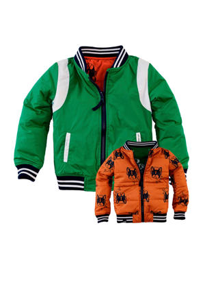 reversible zomerjas Ace met tekst groen/wit/oranje