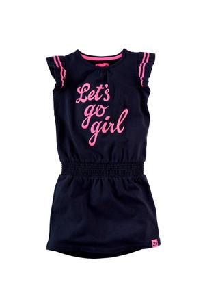 jersey jurk Louise donkerblauw/roze