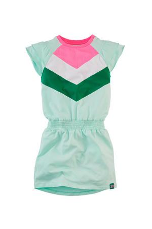 jersey jurk Annemijn met ruches mintgroen/roze/wit