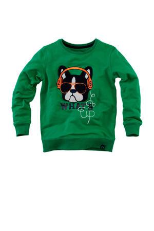 sweater Pepijn met printopdruk en borduursels groen/zwart/oranje
