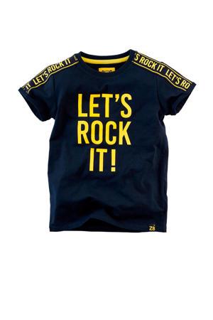 T-shirt Ramses met contrastbies donkerblauw/geel