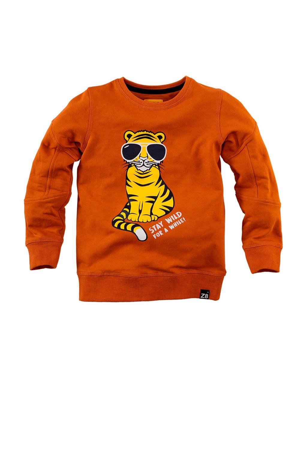 Z8 sweater Duncan met printopdruk oranje/geel/zwart, Oranje/geel/zwart