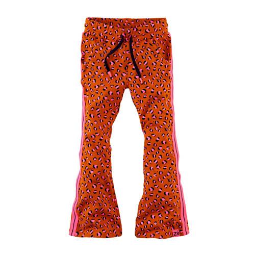 Z8 flared broek Kee met panterprint en borduursels