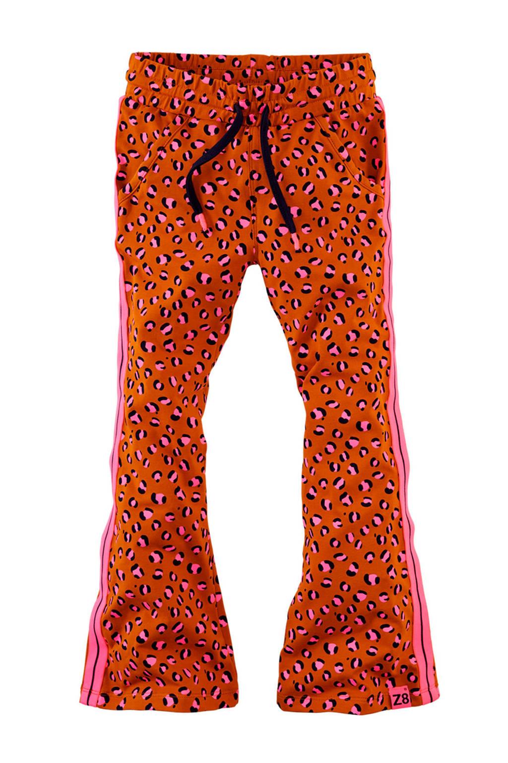 Z8 flared broek Kee met panterprint en borduursels donker oranje/lichtroze/zwart, Donker oranje/lichtroze/zwart