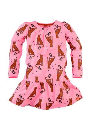 jersey jurk Lois met all over print en plooien lichtroze/bruin/zwart
