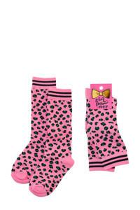 Z8 panterprint sokken roze, Roze/zwart/groen
